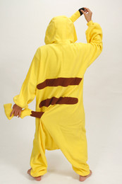 Wholesale Christmas Sleepwear - plus size jumpsuits Yellow Cosplay Pikachu Dress animal costume Kigurumi Pajamas Animal Pyjamas Costume Coral Fleece Animal Sleepwear