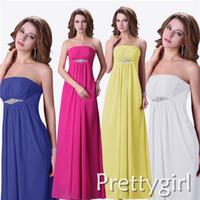 gelbe brautjungfer kleider perlen großhandel-ZJ0020 trägerlosen Maxi Kristall Perlen blau gelb Whit Pink Chiffon formales Abendkleid plus Size Brautjungfer Kleid rosa