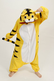 Wholesale Cheap Sleepwear - plus size Lovely Cheap Kigurumi Pajamas Anime Tiger animal costume Kigurumi Pajamas Animal Pyjamas Costume Coral Fleece Animal Sleepwear