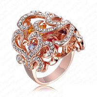 Wholesale 18k austrian crystal ring - Big Flower Ring 18K Rose Gold Plate Austrian Crystals Women Vintage Fashion Jewelry