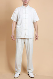 Wholesale Martial Art Chinese Uniform - Free Shipping 2015 hot sale the national trend clothing chinese style top tradition Chinese beige linen uniform tang suit Tai chi set 0820-2
