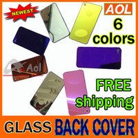 Wholesale Iphone Mirror Parts - newest mirror Back Glass Battery Housing Door multi color Back Cover Replacement Part with Flash Diffuser for iphone 4 4S dhl free shipping