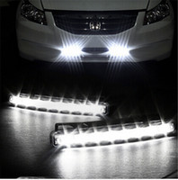 Wholesale Head Light Running - 2pcs lot 8 LED Universal Car Light DRL Daytime Running Head Lamp Super White free shipping