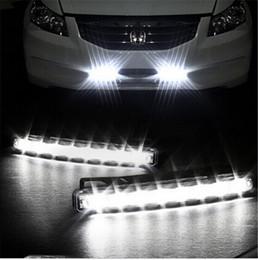 Wholesale Head Running - 2pcs lot 8 LED Universal Car Light DRL Daytime Running Head Lamp Super White free shipping