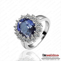 Wholesale Ring Elements - British Kate Princess Diana William Engagement Ring Platinum Plated Austrian Crystal SWA Element Ring Fashion Jewelry Ri-HQ0016