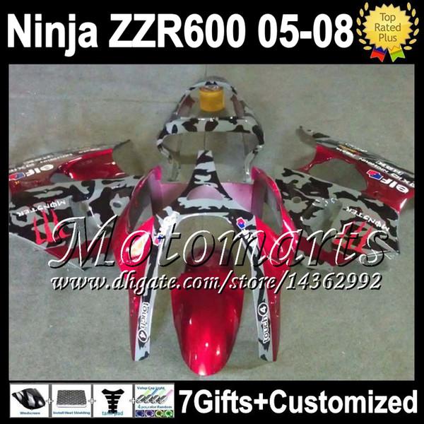 7gifts For KAWASAKI red grey black ZZR 600 05 06 07 08 636 ZZR600 Body M1395 ZX636 ZZR-600 NINJA camouflage 2005 2006 2007 2008 Fairings