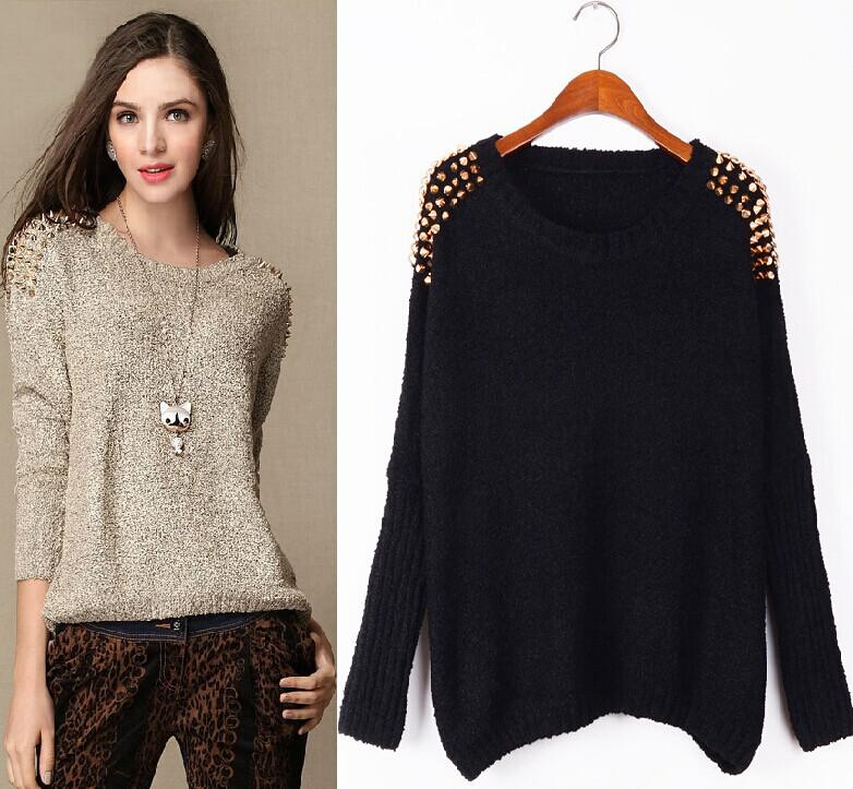 New Coolest Women Sweater Pullover Rivet Embellished Red Black ...