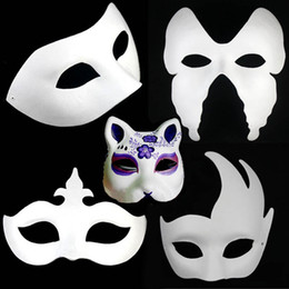 Wholesale Party Costume Mask Paper - 8 Designs Halloween costume party Mask,Paper pulp mask,DIY Self-Portrait masquerade masks,christmas props Hallowmas Masquerade Peoperties