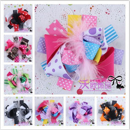 Wholesale Claw Clips Feathers - 20 pcs Baby Hair Bows Girl Layered Hair Bows Boutique Christmas Feather Hair Bows Handmade Ribbon Flower Hair Clips Children Headwear FGH48