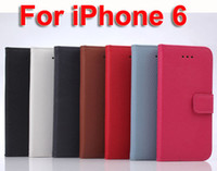 Wholesale Litchi Stria Leather Case - MOQ 10PCS High Quality Litchi Stria Flip PU Leather Case Cover For iPhone 6 Shock Proof Wallet Cases Covers Protection