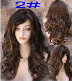 Wholesale Realistic Girl Wig - 18inch 200g Stylish ladies full length wavy Scroll fluffy wig girl big waves realistic soft long curly brown hair wig