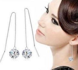 Wholesale Trade Chandeliers - Wholesale - Foreign trade 925 sterling silver zircon tassel earrings