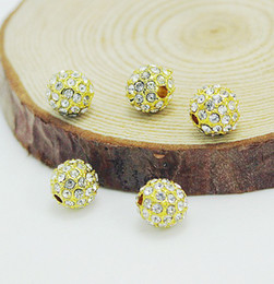 gold disco balls 2019 - 8MM Gold Plated Crystal stones Pave Disco Ball Rhinestone Beads Loose Spacer Bracelet Bead Jewelry Findings