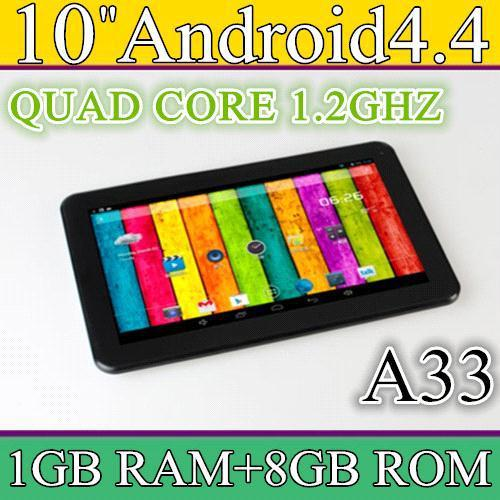 5PCS CHEAP 1.2GHZ HD 1024*600 1GB 8GB QUAD Core Allwinner A33 android 4.4 dual camera 10 inch tablet pc PB10-A33