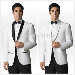 Wholesale White Shawl Lapel Suit - 2016 Custom Made White With Black shawl Lapel Groom Tuxedos Groomsmen Men Wedding Suits Groom Wear 3 Peice Suits(Jacket+Pants+BowTie)B05082