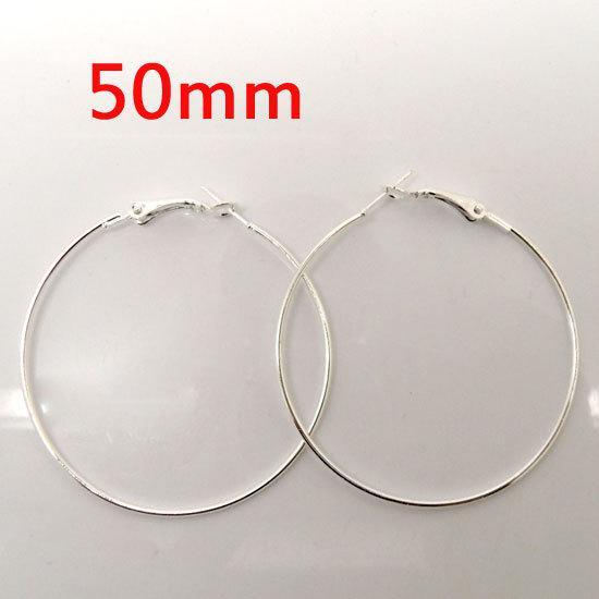 30 pezzi argento placcato maglie di pallacanestro orecchino cerchi ciondola goccia 50mm diametro. W01165 X 1