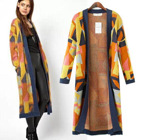 Großhandel 2014fall Frauen Stricken Lange Pullover Strickjacke Bunten Geometrischen Stammes Jacquard Design Muster Strick Vintage Boho Outfit Mantel