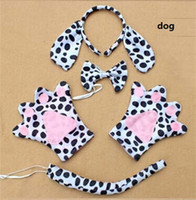 Halloween Party Dalmatian Dog Ear Kids Girls Headband Tail Bow Paws Gloves Cosplay Costume Set Gift
