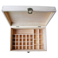 Wholesale Holes Rectangle - Multifunctional wooden Essential Oils Box 32 holes 10ml bottles and 1 crossbar 4 * 100ml bottles Natural pine wood without paint