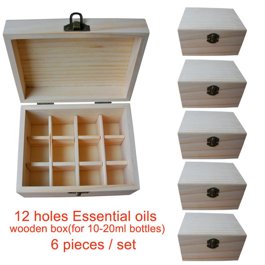 Wholesale Handmade Natural Pine Wooden Boxes Essential Oils Storage Box 12  Holes 5ml   20ml Bottles Without Paint Storage Box Wooden Boxes Handmade  Online ...