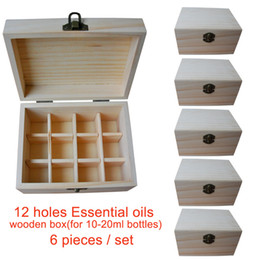 Wholesale Handmade Wooden Paintings - Wholesale 6 pieces set Handmade Natural pine wooden boxes Essential Oils Storage Box 12 holes 5ml - 20ml bottles without paint