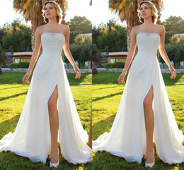 Wholesale Chiffon Wedding Dress Low Prices - 2017 Summer Beach Cheap Wedding Dresses Sheath Chiffon High Slit Strapless Beaded Sweep Train Bridal Gowns Low Price Casual Dress