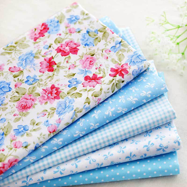 40*50cm 6pcs Baby blue flower bowtie 100% cotton patchwork fabric quilting bedding home textile for sewing tilda