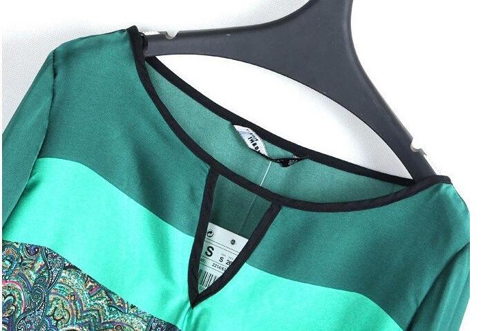 Vintage mode klänning höst kvinnor tryckta chiffong klänning nya damer kjol långärmad casual runway klänning sexig tjej klubb fest klänning e25