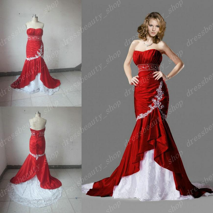 2014 fall real image red and white lace taffeta mermaid for Cheap white and red wedding dresses