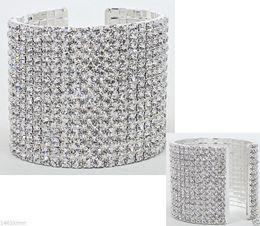 Wholesale Costume Jewellery Bracelets - SILVER RHINESTONE CUFF BRACELET Wedding PARTY Brides and Bridesmaids Gifts Women's COSTUME JEWELLERY 1-10 Rows