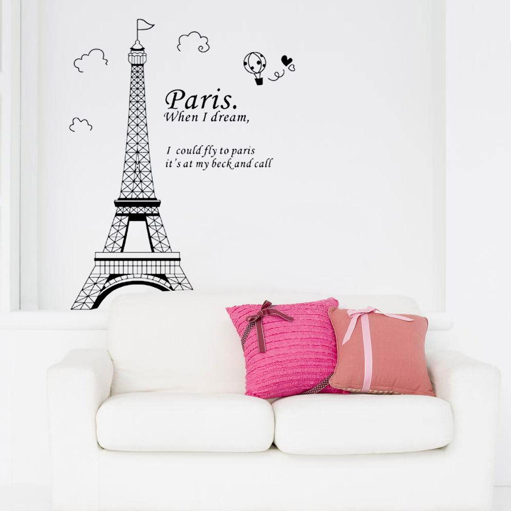 Romantic paris eiffel tower beautiful view of france diy wall romantic paris eiffel tower beautiful view of france diy wall sticke wallpaper decoration stickers art decor mural room decal h11575 large wall art stickers amipublicfo Gallery