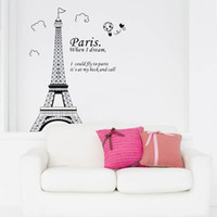 Wholesale Paris Bedroom Wall Decor - Romantic Paris Eiffel Tower Beautiful View of France DIY Wall Sticke Wallpaper Decoration Stickers Art Decor Mural Room Decal H11575