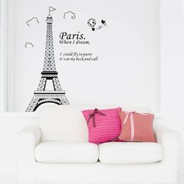 Wholesale Stickers Paris - Romantic Paris Eiffel Tower Beautiful View of France DIY Wall Sticke Wallpaper Decoration Stickers Art Decor Mural Room Decal H11575