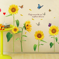 Wholesale Wall Sunflower Decals - Sunshine Sunflower Butterfly Dancing in Summer Removable Wall Sticke Stickers DIY Kid's Child Room Decor Decal Stickers H11528