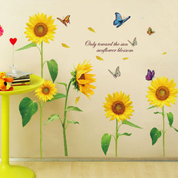 Wholesale Sunflower Removable Wall Decals - Sunshine Sunflower Butterfly Dancing in Summer Removable Wall Sticke Stickers DIY Kid's Child Room Decor Decal Stickers H11528