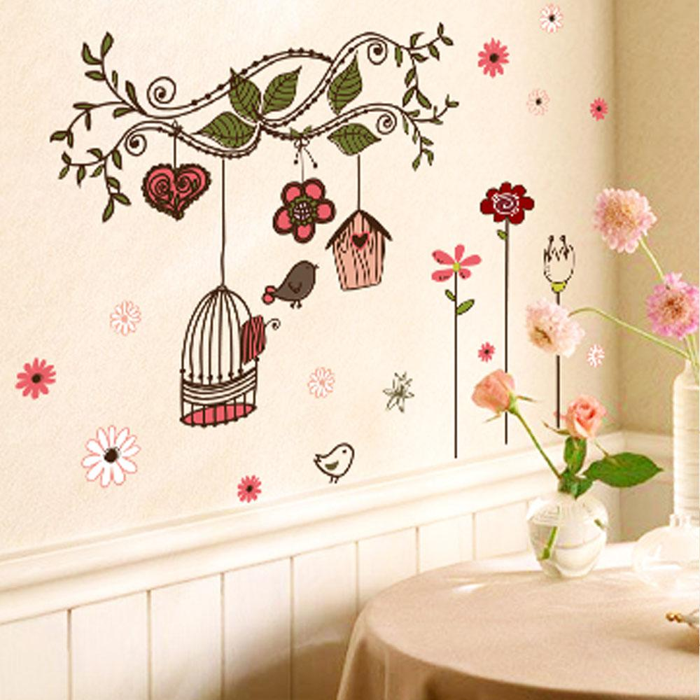 Beautiful Flowers Cartoon Bird Cage Vine DIY Wall Sticke Stickers Wallpaper Art  Decor Mural Room Decal Decals Sticker H11566
