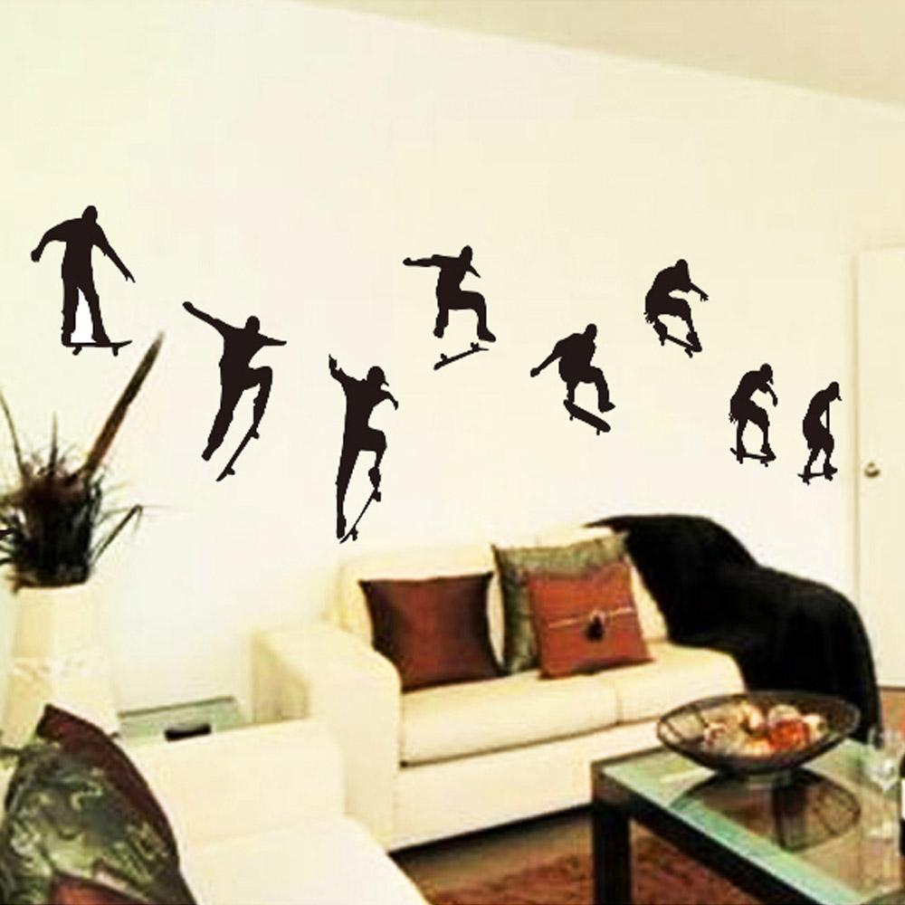 Skateboard sports cool life simple black diy wall sticke for Decoration 4 life