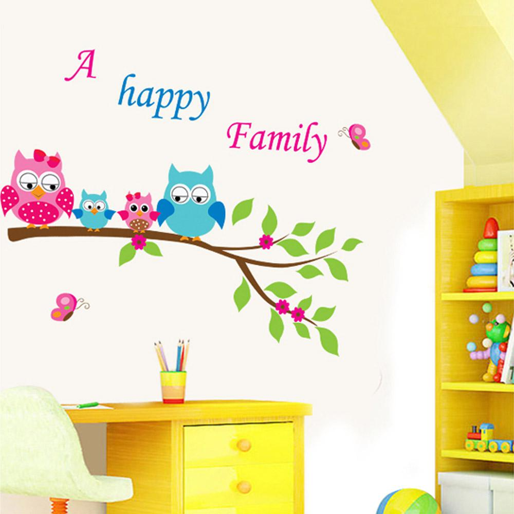 cartoon cute happy owl family diy wall sticke wallpaper stickers cartoon cute happy owl family diy wall sticke wallpaper stickers art decor mural kid s child room decal home decoration h11572
