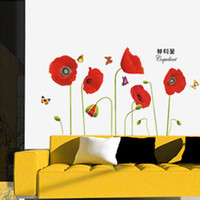 Wholesale Red Poppy Wall Stickers - Bright Red Corn Poppy Beautiful DIY Wall Sticke Wallpaper Stickers Art Decor Mural Room Decal Home Decoration Adesivo De Parede H11569