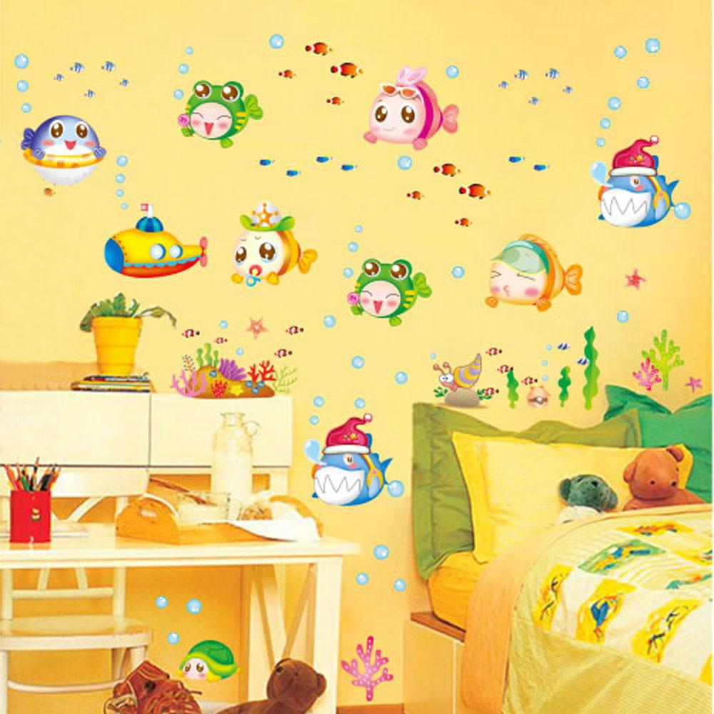 Cartoon Cute Underwater World Fish Bubble Diy Wall Sticke Wallpaper ...