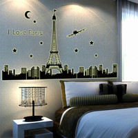 Wholesale Building Murals - Night Sky Eiffel Tower Moon Star City Building View of Paris Noctilucent DIY Wall Wallpaper Stickers Art Decor Mural Decal H11584