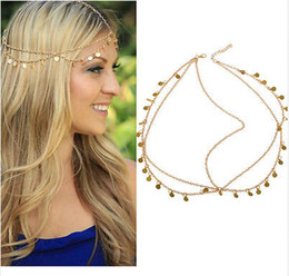 Wholesale Gold Head Dress - 6PCS Stunning Gold Circle Drop Head Chain Hair Cuff Head band Head Dress Wrap Jewelry [JH04022*6]