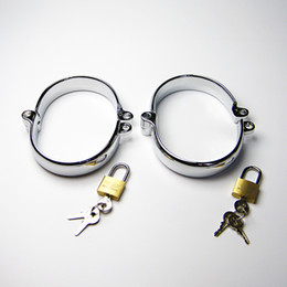 Wholesale Wrist Ankle Lock - Factory Directly Sale 2018 Latest Male Female Stainlees Steel Oval Ankle Cuff Shackles Come With One Lock Adult Bondage BDSM Sex Toy