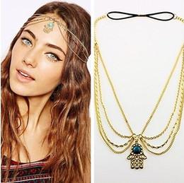 Wholesale Head Piece Chain Jewelry Gold - Gold Hamsa Hand Fatima Turquoise Tassel Chain Headpiece BOHO Band Hair Headband Head Piece Hair Band Jewelry [JH04024*6]