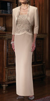Wholesale Long Shirts Gowns - Best Selling! New Long Column Champagne Mother of the Bride Dresses with Jacket 3 4 Sleeve Straps Beads Lace Chiffon Formal Gowns Custom