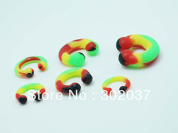 Wholesale Silicone Horseshoe - Wholesale-OP-free shipping mix size silicone circular horseshoe nipple ring ear gauges body jewelry mix lots