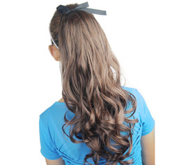 Wholesale Curly Ponytail Black Hair - 1pc lot women's beautiful long curl synthetic ponytail hair pieces hair extenison