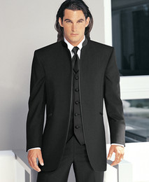 Wholesale Big Men Wedding Suits - Custom Made Big Boss Two Buttons Flat Collar Groomsman Men Suits Bridegroom Tuxedo Best Man Suit Wedding Suit (Jacket+Pants+Vest) Y34