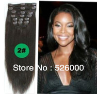 Wholesale Remy Hair Extensions Set - New Factory price Brazilian Virgin Remy Hair Clip In Human Hair Extensions 70g set Full head dark brown#2 Colors available free shipping