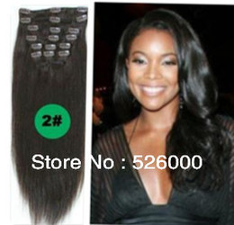 Wholesale Human Hair Extensions Full Set - New Factory price Brazilian Virgin Remy Hair Clip In Human Hair Extensions 70g set Full head dark brown#2 Colors available free shipping